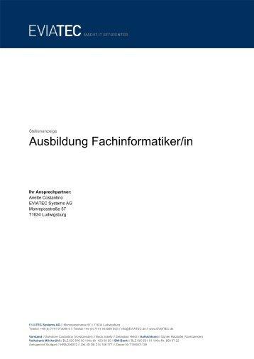 Ausbildungsplatz Fachinformatiker/in - eviatec Systems AG