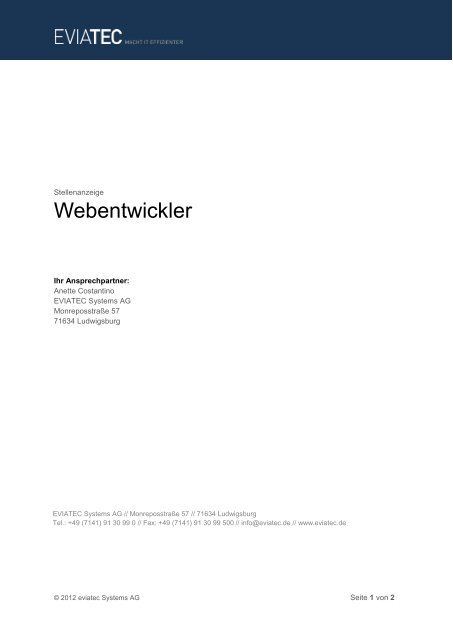 Stellenanzeige Webentwickler (PDF) - EVIATEC Systems AG