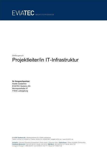 Stellenanzeige Projektleiter/in (PDF) - eviatec Systems AG