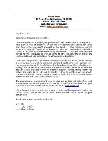 wilma rosa cover letter wilma rosa web designer resume - Cover Letter For Web Designer