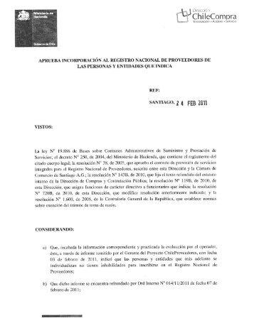 Resolución Proveedores Inscritos Enero 2011 - ChileProveedores