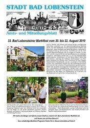 33. Bad Lobensteiner Marktfest vom 20. bis 22. August 2010