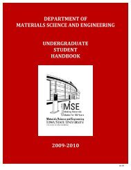 Undergraduate handbook - Materials Science and Engineering ...