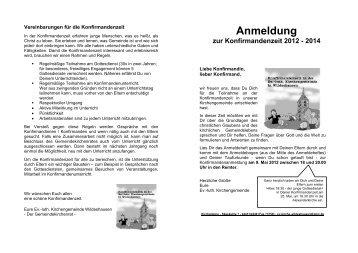 Anmeldung zur Konfirmandenzeit 2012