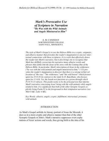 Mark's Provocative Use of Scripture in Narration - Institute for Biblical ...