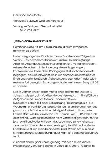 "Christiane Joost-Plate Vorsitzende ""Down-Syndrom Hannover ..."