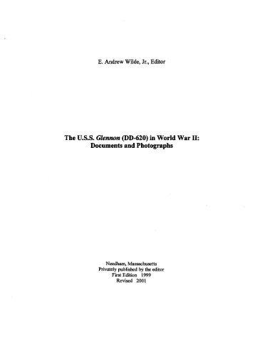 USS Glennon (DD 620) in World War II - Destroyer History Foundation