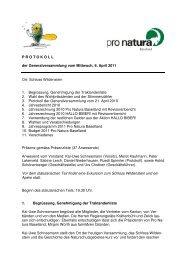 Protokoll GV 2011 - Pro Natura Baselland