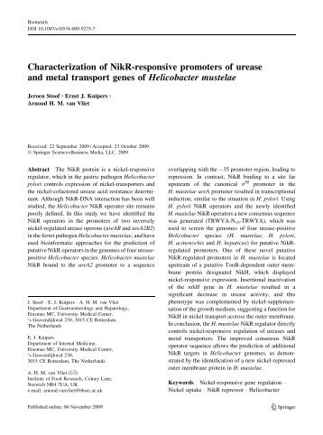 Characterization of NikR-responsive promoters of urease and metal ...