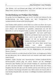 Abschied von Prediger Uwe Paladey