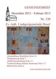 GEMEINDEBRIEF Dezember 2012 – Februar 2013 Nr. 130 Ev.-luth ...