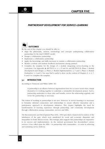 chapter five partnership development - CHE
