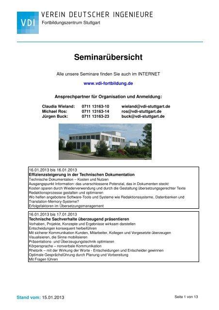 Seminarübersicht - VDI Fortbildungszentrum Stuttgart