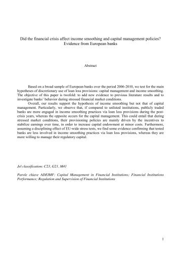 The Role of Loan Loss Provisions in Earnings Management, Capital ...