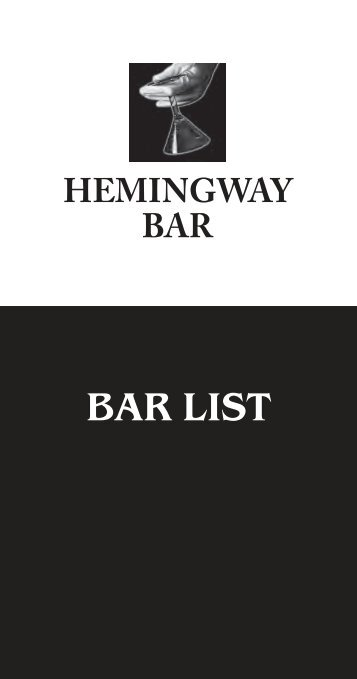 BAR LIST - Hemingway Cocktail Service