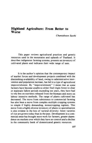 Highland agriculture : from better to worse - IRD