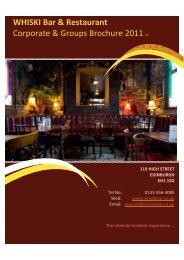 WHISKI Bar & Restaurant Corporate & Groups Brochure 2012 v1