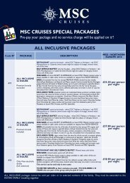 MSC CRUISES SPECIAL PACKAGES