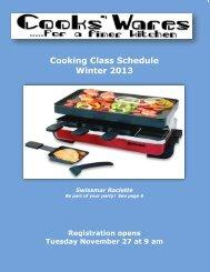 Cooking Class Schedule Winter 2013 - Cooks' Wares