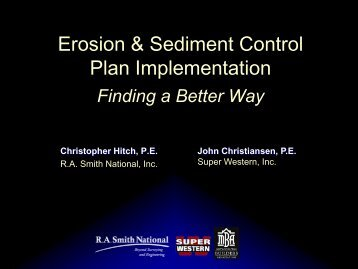 Erosion & Sediment Control Plan Implementation - Clean Ways for ...