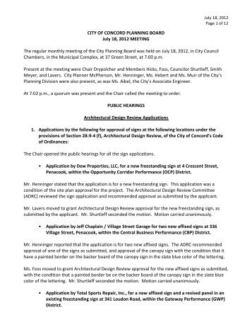 CITY OF CONCORD PLANNING BOARD July 18, 2012 MEETING ...