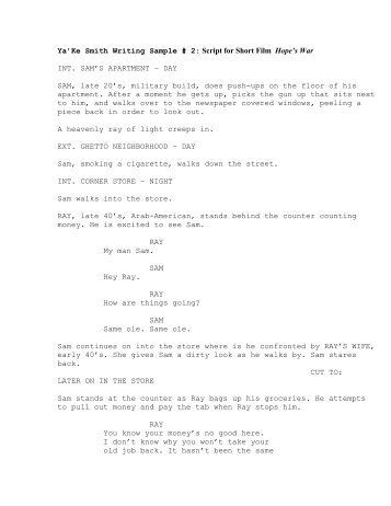 sample short film script choice night