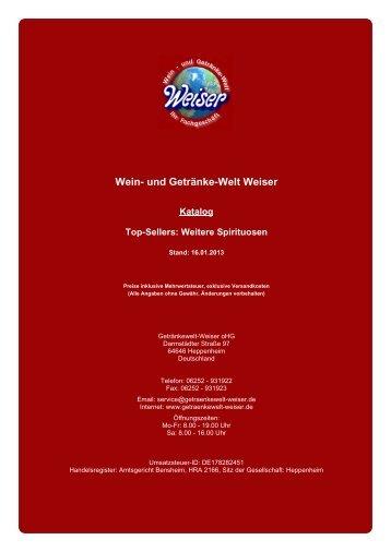 Katalog für Top-Sellers - und Getränke-Welt Weiser