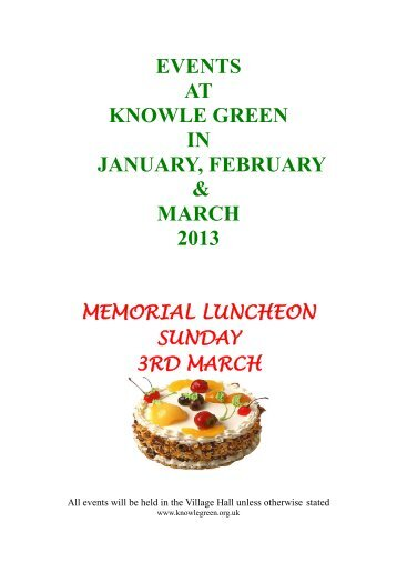 EVENTS AT KNOWLE GREEN IN JANUARY, FEBRUARY ...