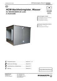HCW Nachheizregister, Wasser für VEX350,360 ohne ... - exhausto.de