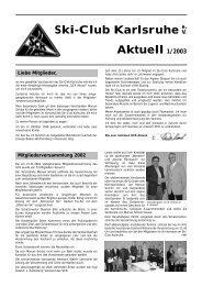 Ski-Club Karlsruhe Aktuell 1/2003 - Ski-Club Karlsruhe eV