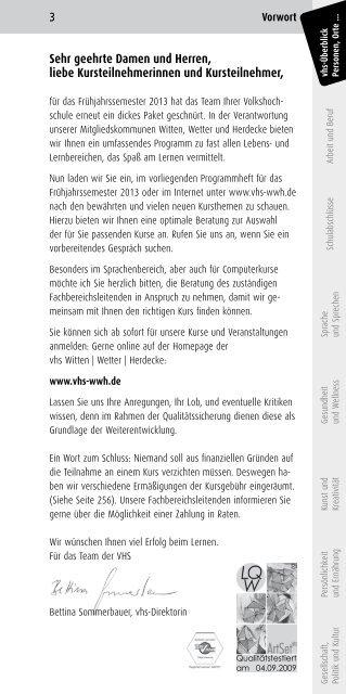 Kursbuch 1 Semester 2013 Volkshochschule Witten Wetter