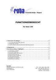 FUNKTIONSÜBERSICHT - Rota