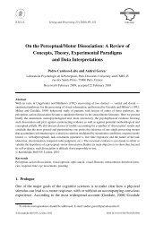 Perceptual/Motor dissociation: a Review of Concepts, Theory