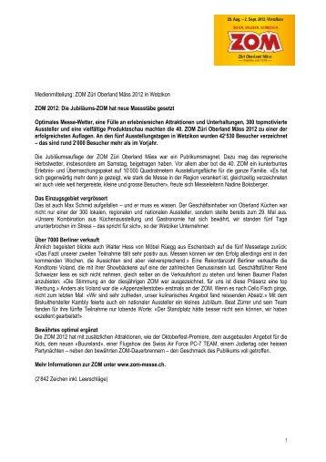 Medienmitteilung: ZOM Züri Oberland Mäss 2012 in Wetzikon ZOM ...