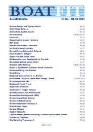 Ausstellerliste 27.02. - 01.03.2009 - Boatfit