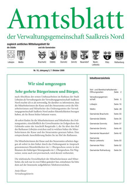 Der Verwaltungsgemeinschaft Saalkreis Nord Stadt Wettin