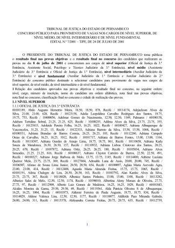 1 tribunal de justiça do estado de pernambuco - CESPE / UnB