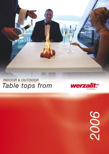 Indoor & Outdoor Table Tops from Werzalit Austria 2006