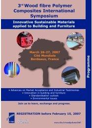 27th March 2007 Speaker at Wood plastic composites