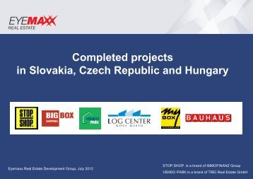 Completed projects in Slovakia, Czech Republic and Hungary
