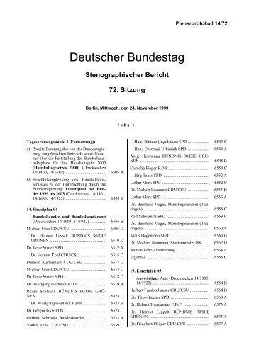 Stenographischer Bericht 72. Sitzung - Deutscher Bundestag