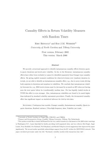 Causality Effects in Return Volatility Measures with Random Times