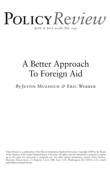 A Better Approach to Foreign Aid - People.hbs.edu - Harvard ...