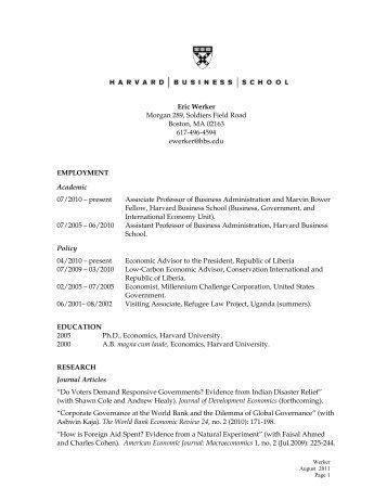 Eric Werker EMPLOYMENT - People.hbs.edu - Harvard Business ...