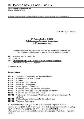 Die Einladung - Ortsverband Griesheim F42