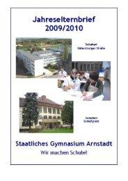 Elternbrief zum Schuljahr 2009/2010 - Staatliches Gymnasium ...