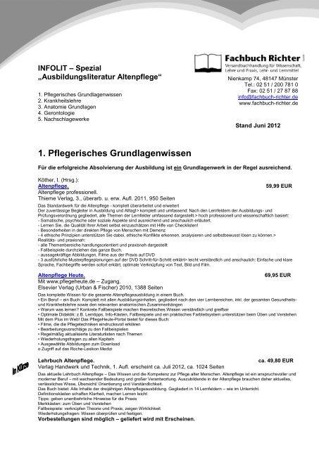 1 Pflegerisches Grundlagenwissen Fachbuch Richter