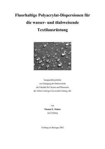 Fluorhaltige Polyacrylat-Dispersionen für die wasser- und ...