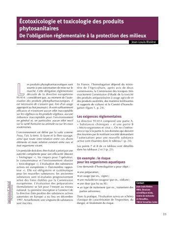 Ecotoxicologie et toxicologie des produits phytosanitaires