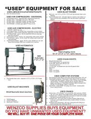 """""""USED"""" EQUIPMENT FOR SALE - Wenzco"""
